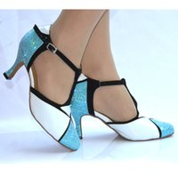 Wholesale Flamenco Shoes - new Fashion Spring and Autumn Blue flash White PU Latin dance shoes Modern Ballroom dancing shoes Tango Waltz Fox-trot shoes two colors