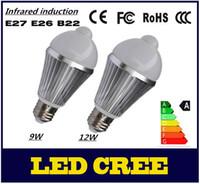 Wholesale Sensor E26 - Infrared induction 9W 12W AC 110V-240V 220V E27 B22 warm white White Light Body Infrared Sensor PIR Motion Sensor Detection LED Lamp Bulb