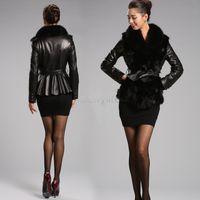 Wholesale B2 Leather Jacket - Wholesale-2015 Winter New Female Imitate Fur Coat Leather Outerwear Women Black Leather Jacket Faux Fur Plus Size Overcoat M-XXL B2# 41