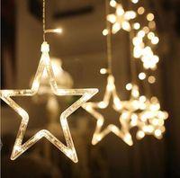 Wholesale fairy deco - 2*1M christmas lights Romantic Fairy Star Led Curtain String Light AC110V 220V US EU plug For Wedding Party Holiday Deco