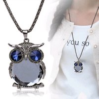 Wholesale Long Dresses For Women Wedding - Wholesale Jewelry Pendants Necklaces Fashion Crystal Owl Sweater Chain Long Adornment Wedding Dresses Charms Gift for Women Free Shipping