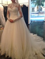 Wholesale Long Sexy Pink Tube Top - Top selling Vestido de noiva A Line 2015 Wedding dresses Tube top Luxurious Long sleeve Lace Wedding dresses 2015 Robe De Mariage