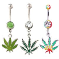 Wholesale Stainless Steel Hot Pots - 2016 Hot Rasta Pot Leaf Jamaican Gem Belly Ring Navel Ring Body Piercing Jewelry Belly Bars Rhinestones Belly Button Rings