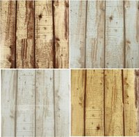Wholesale Feature Art - pvc Cheap Natural Realistic Rustic Wood Panel Grained Effect Feature Designer Textured Vinyl 10M Wallpaper Roll Decor Art Vintage W521