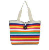 Wholesale Eco Recycle Bag - Fashion Stripes Canvas Shoulder Tote Handbag Travel Eco Recycle Shopping Bag Shoulder Bag Bolsas Rainbow Shopping Bags 6 Colors