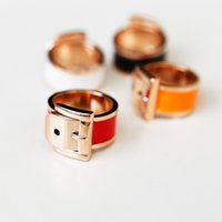 Wholesale Belt Buckle Rings For Women - Unique European and American wind belt buckle ring finger female drip color preserving gold ring titanium rings for women