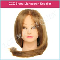 Wholesale Cosmetology Mannequin Heads Real Hair - Free Shipping Training Head 50%Real Human Hair Training Head Cosmetology Hairdressing Mannequin Blonde + Free Clamp BM023