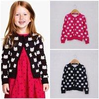 Wholesale Cat Cardigans - 2015 Spring Baby Girls' Sweater Children's Cardigan Kids Sweaters Outwear kitty Cat Coat Girls Clothing Rose Black 43045248234 201509HX