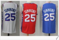 Wholesale Numbers Vests - New 2018 #25 Ben Simmons College Retro Stitched Embroidery Vintage Sports basketball Uniforms Shirts Numbered Vest Numbered Mens Jerseys