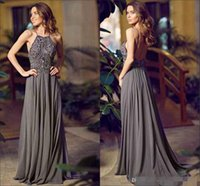 Wholesale Halter Neckline Green Prom Dresses - New Arrival Sexy Halter Neckline Sleeveless Long Evening Dress Beaded Chiffon Grey A-line Sweep Train Backless Prom Party Dresses Gowns
