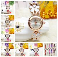 Wholesale Multi Bracelet Clover - Crystal Clover Women Watches Bracelets Stainless Steel Golden Wrist Watches Flower Rose Ladies Girls Charming Bracelet Quartz Wristwatch