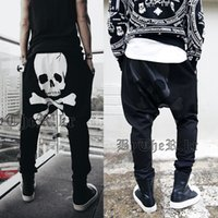 мешковатые брюки мужчины промежность оптовых-Wholesale-New 2015 Skull Printed Men's Hip Hop Pants, Baggy Harem Pants, Sport Pants Mens Joggers Drop Crotch Pants Men Pantalones