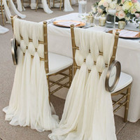 Wholesale Gold Color Wedding Chair Covers - Ivory Chiffon Chair Sashes Wedding Party Deocrations Bridal Chair Covers Sash Bow Custom-made Color Available (20inch W * 85inch L)