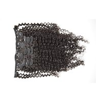 extensões indianas do grampo de cabelo humano venda por atacado-12-26 Polegadas 120g 7 Peças Set Cabeça Cheia Clipe in / on Indiano Humano Extensões de cabelo 100% cabelo humano tece kinky curly ondulado top quality G-EASY