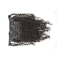 extensiones de cabello clip de calidad al por mayor-12-26Inch. 120g Set de 7 piezas Set Full Head Clip en extensiones de cabello humano indio 100% cabello humano teje rizado rizado Wavy calidad superior G-EASY