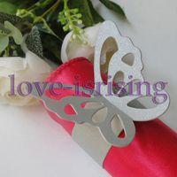 Wholesale Silver Paper Napkin Rings - Hot Sale-100pcs Silver Paper Butterfly Napkin Rings Wedding Bridal Shower Napkin holder-Sample Order