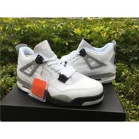 best toro bravo basketball shoes  - Air Retro 4 IV White Cement Toro Bravo oreo Bred 89' 2016 Men Sneakers Basketball Shoes With Box