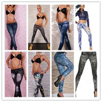 Wholesale Leggin Jeans - New Fashion Womens Girls Leggings Thin wild snow Imitation Jeans leggin Trousers Nine minutes of Pants