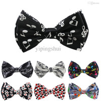 Wholesale Pattern Bow Ties For Men - Wholesale-Retail now fashion music Pattern two-layer Bow tie for Men Men's Unisex Tuxedo Dress Bowtie   Butterfly Brand New