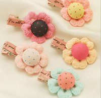 Wholesale Lps Cute - 10%off 100pcs Baby Hair Clip Cute Flower Headwear Kids Candy Color BB hairpins Baby Girls Hair Accessories LP