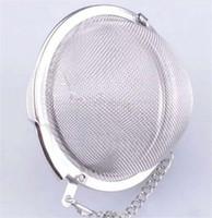 teekanne edelstahlfilter großhandel-200 teile / los tee infuser Sieb Edelstahl Teekanne Infuser Mesh Ball filter mit kette tee maker werkzeuge