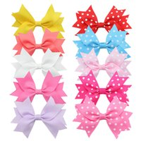Wholesale Diy Fabric Accessories - New dot Barrettes 10 pcs lot bowknot hairband with Alligtor Clips hair accessories for girls diy grosgrain hair clip girls heaadbands