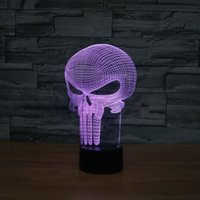 Punisher Skull 3D LED Toy Lamp Cool Skull Shape 7 color ilusión visual LED luces Toy Decoration Unique Birthday Toy Gift