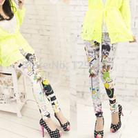 Wholesale Sunflower Pants - Wholesale-Fashion Womens Floral Sunflower Leggings High Waist Stretch Pants Hot Selling