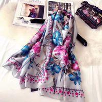 Wholesale Pure Silk Chiffon - Womens scarf 180cm*90cm 100% Pure silk Scarf for women spring tour Euro Brand French designer Pattern Printed Women Gift shawl scarf