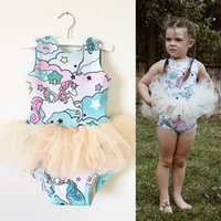 Wholesale pony fashion online - New Girls Tutu Rompers Colorful Pony Pegasus Stars Printed Blue Mesh Dress Summer Grenadine Fashion Girls Dresses T