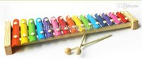 Wholesale Baby Instruments Xylophone - Wholesale-2015 Hot Sale 15-Note Wooden Aluminum Xylophone Hand Knocking Piano Baby Kids Children Musical Instrument Educational Toys