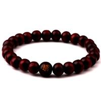 braceletes de madeira para mulheres venda por atacado-Com Escrita Chinesa madeira natural talão pulseira De Madeira Pulseira Para Mulheres Homens Jóias