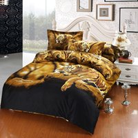 Wholesale Tiger Painting Duvet - Boutique Tiger 3D Bedding Oil Painting 4pcs Printed Duvet Cover Bedding Sets Three Dimensional Pattern Home Textiles