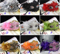 Wholesale Venice Flowers - Venice party masks exquisite lace diamond leather lady Masks Masquerade princess mask with flower