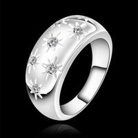 Wholesale Diamond Ladies Ring Sterling - Luxury new hot sell 925 sterling Silver fashion charm retro Beautiful Cute pretty LADY Diamond Austria Crystal Wedding ring jewelry R504