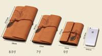 Wholesale Custom Books - 14.5*11.5 cm kraft Leather Journal Notebook Retro Craft Pape Spiral Diary Journals Book Custom logo printing Stationery Free shipping