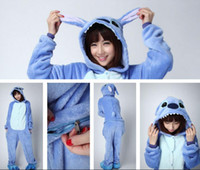 Wholesale Plus Size Costume Onesies - Stitch plus size jumpsuits blue Stitch Warm Pyjamas Costume Coral Fleece Sleepwear adult onesies Tracksuit