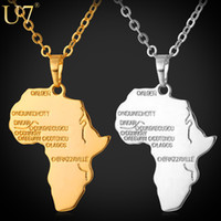 Wholesale Platinum Clusters - Africa Pendant 2015 New Platinum 18K Real Gold Plated Unisex Women Men Fashion African Map Pendant Necklace Hiphop Jewelry P544