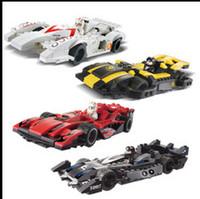 Wholesale Enlighten Kazi - Wholesale-KAZI 4pcs lot Enlighten 3D DIY Construction eductional Bricks Building Block Sets toys Sport Speed Power Racer Car children toys