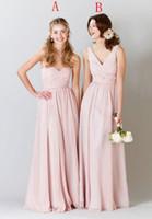 nude bodenlänge brautjungfer großhandel-Neue geraffte Plissee lange Chiffon Brautjungfer Kleid nackt rosa bodenlangen Hochzeit Kleid