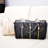 Wholesale Retro Lady Totes - Fashion New Women Lady Retro Lace Designer PU (Faux) Leather Women's Handbag Tote Crossbody Shoulder Bags Small