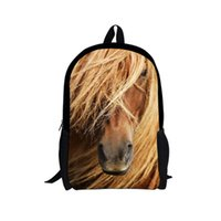 Wholesale horse school bags - Crazy Horse Printing Backpacks for Kids Boy Girl 16 inch Primary Student School Shoulder-bags Children Mochila Escolar Infantil