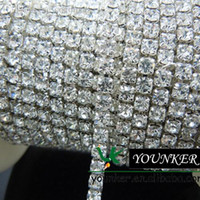 Wholesale Rhinestone Close Chain - Wholesale-Free Shipping,33Yards roll,SS16,CLOSE,Shiny crystal rhinestone chain trimming in Silver Setting