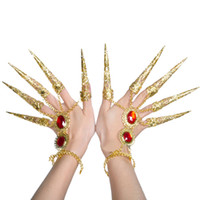 Wholesale Finger Nail Decorations - Women's Dance Costume Bracelet Gold Avalokitesvara Nails Rhinestone Fingertips Finger Decoration tb104