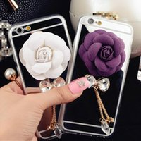 Wholesale Iphone Rhinestone Charms - Mirror Golden Surface Lovely Rose Charm & 3D Diamond Bowknot & Metal Tassel with Rhinestone Pendant Soft Phone Case Cover For iPhone 5 5S 6