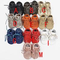 bebek erkek giyim toptan satış-Bebek moccasins patik moccs püsküller boot bebek kız erkek dantel deri ayakkabı prewalker patik bebekler ayakkabı