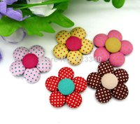 Wholesale Handmade Garment Covers - 20pc Cut Dot Flower Fabric Covered Button High Flatback Cloth Sewing Button Jewelry Accessories for Handmade DIY Garment 33x33mm