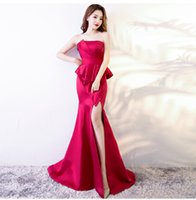 Wholesale Long Chinese Dress Strapless - Elegant Strapless Peplum Mermaid Evening Dresses Long Red Royal Blue Split Prom Dress Chinese Sexy Women Party Gowns Satin Formal Gown Cheap