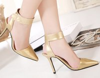 Wholesale Taiwan Sexy Gold - Newest style Gold Sexy pointed high heels faux leather waterproof taiwan dress shoes evening party bridal wedding shoes yzs168