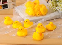 Wholesale Cute Boys Bath - Wholesales 100pcs lot 4x4cm Cute Baby Girl Boy Bath Bathing Classic Toys Rubber Race Squeaky Ducks Yellow Sale